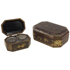 Two Chinese Export Lacquer Tea Caddy for the English Trade, Priced Per Tea Caddy