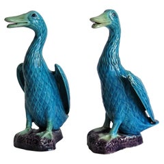 Two Chinese Export Porcelain Geese or Goose Bird Figurines in Poychrome Enamels