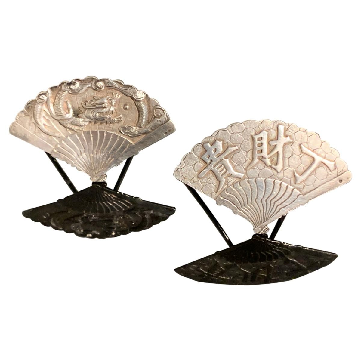 Two Chinese Export Silver Place Card Holders by Wang Hing, Early 20th Century