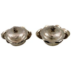 Two Chinese Lidded Bowls of Silver, China, Early 1900s