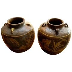 Two Chinese Martaban Stoneware Storage Jars