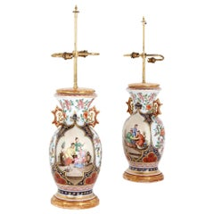 Two Chinese Style Porcelain and Ormolu Table Lamps