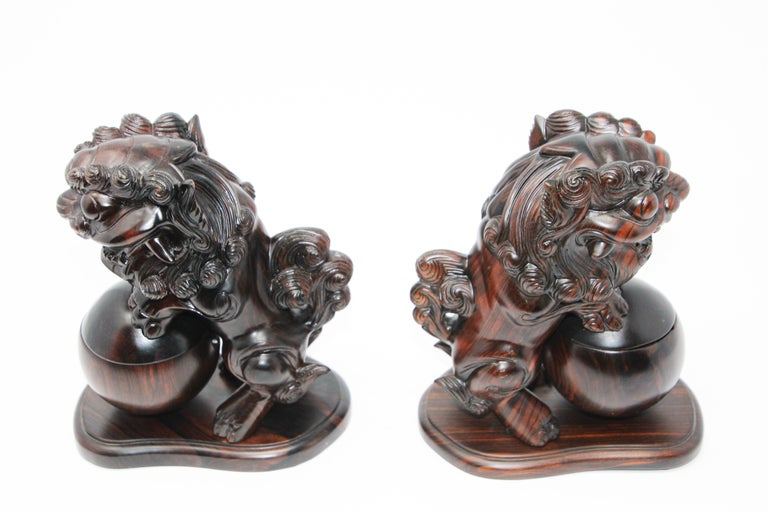 Two Chinese Wood Lion Foo Dogs Incense Holder For Sale 4