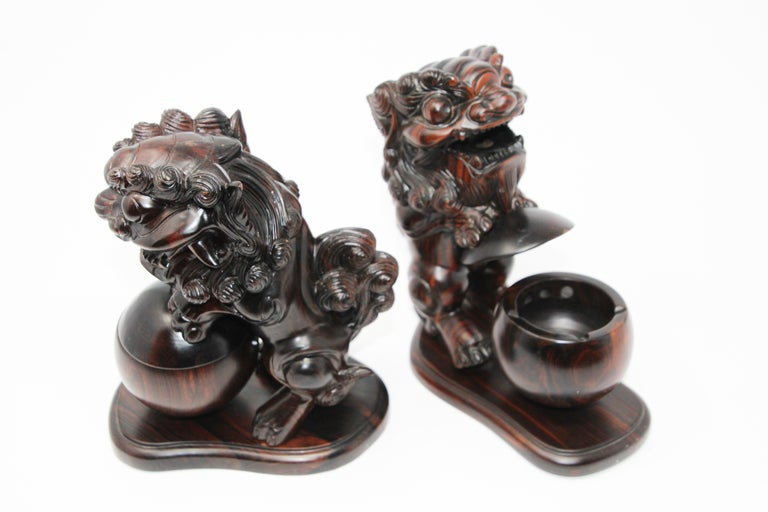 Two Chinese Wood Lion Foo Dogs Incense Holder For Sale 5