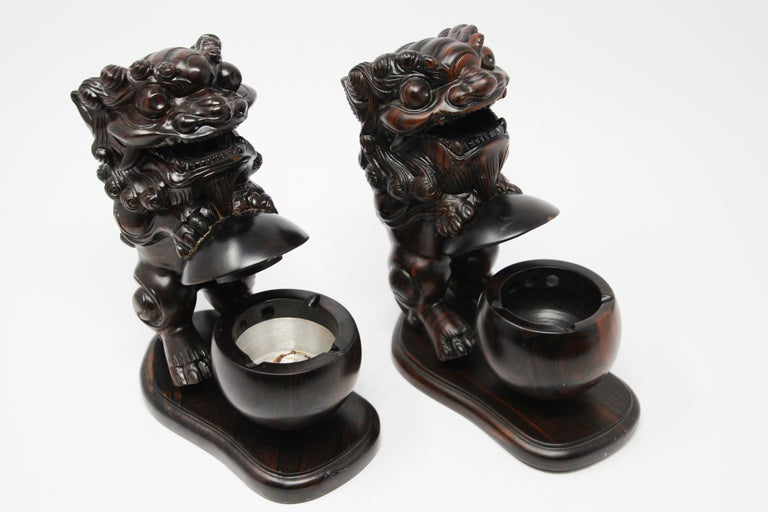 Two Chinese Wood Lion Foo Dogs Incense Holder For Sale 6