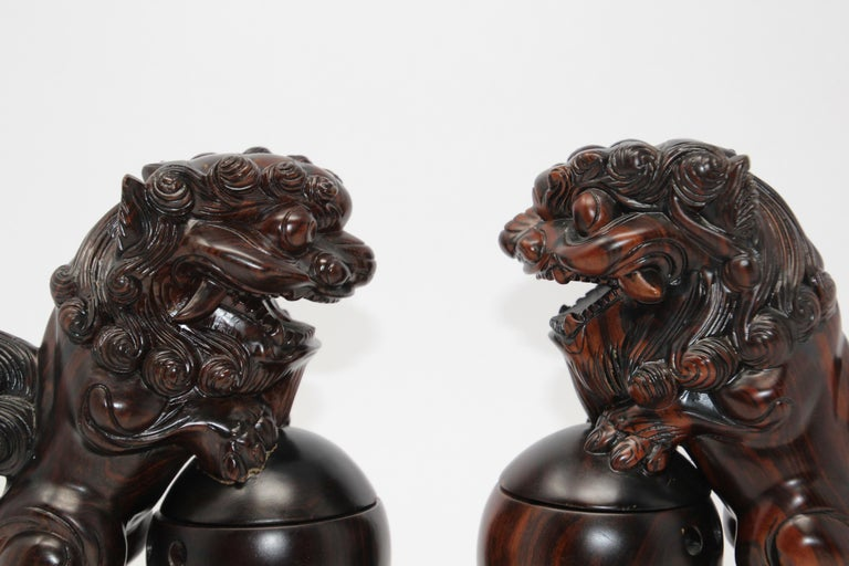 Two Chinese Wood Lion Foo Dogs Incense Holder For Sale 8