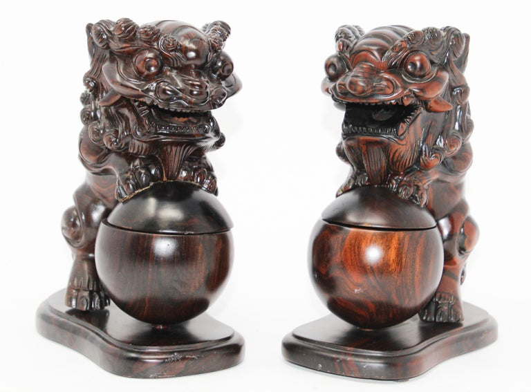 Two Chinese wood Foo Dogs Incense holder burners.
