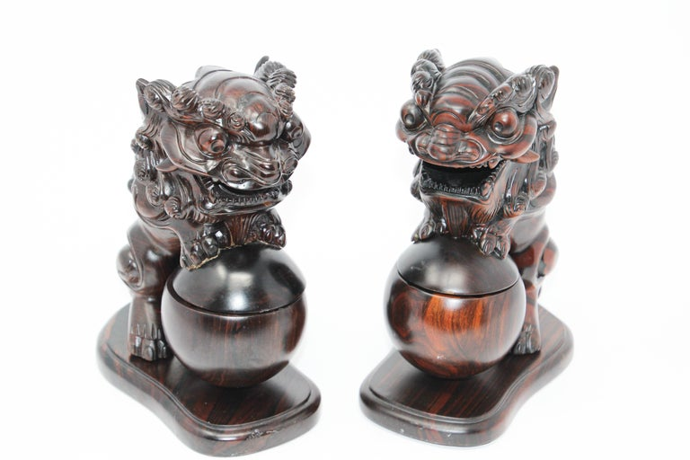 Chinese Export Two Chinese Wood Lion Foo Dogs Incense Holder For Sale