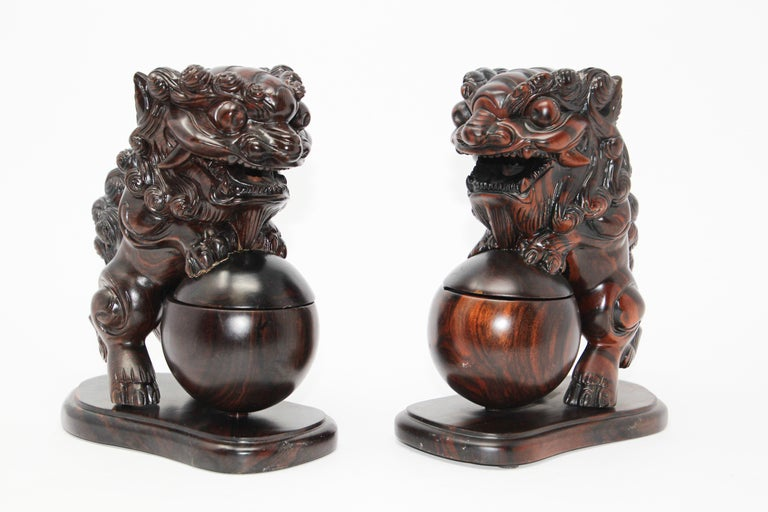 Hand-Crafted Two Chinese Wood Lion Foo Dogs Incense Holder For Sale