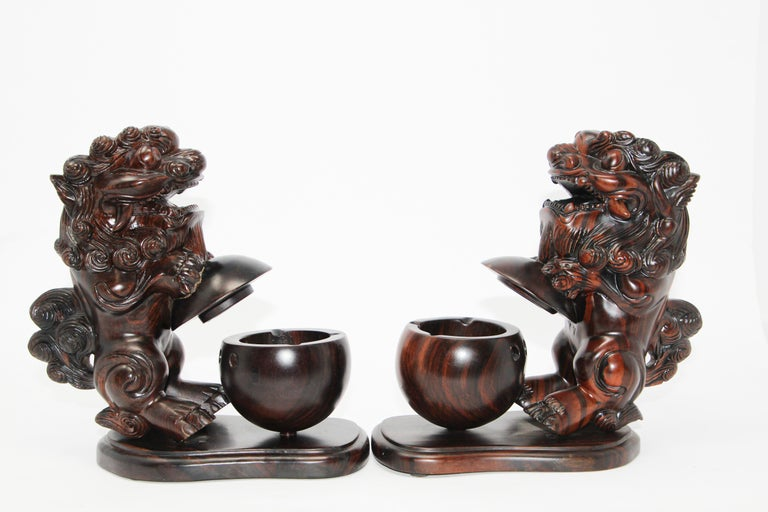 Two Chinese Wood Lion Foo Dogs Incense Holder In Good Condition For Sale In North Hollywood, CA