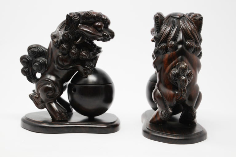 Two Chinese Wood Lion Foo Dogs Incense Holder For Sale 1