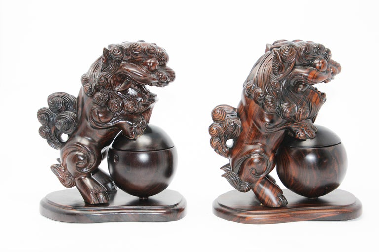 Two Chinese Wood Lion Foo Dogs Incense Holder For Sale 2