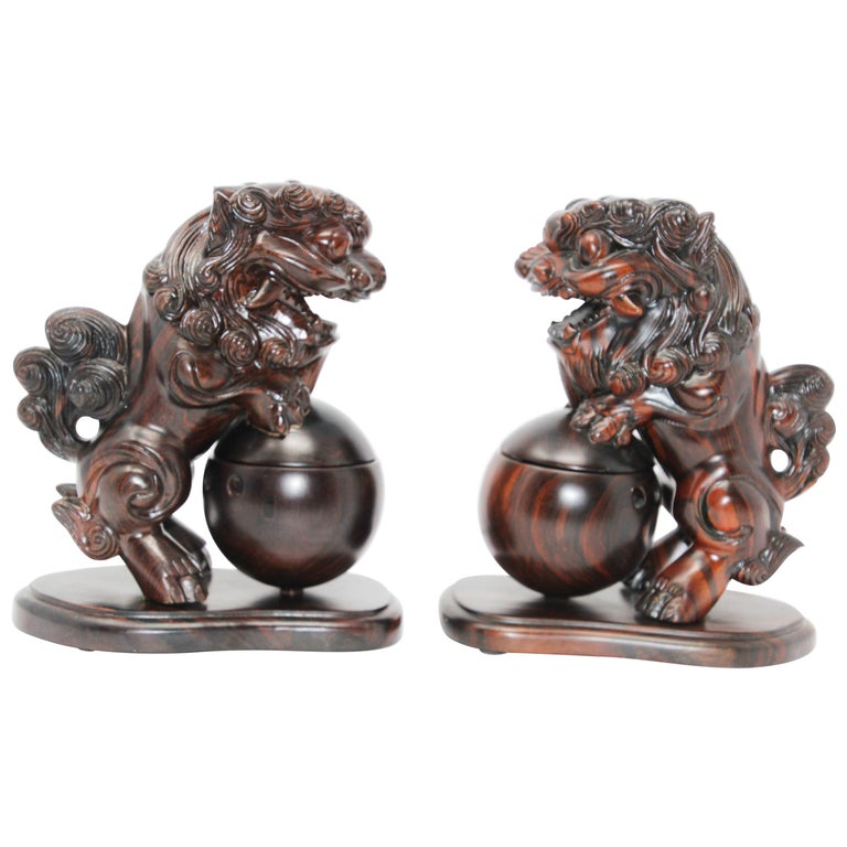 Two Chinese Wood Lion Foo Dogs Incense Holder For Sale