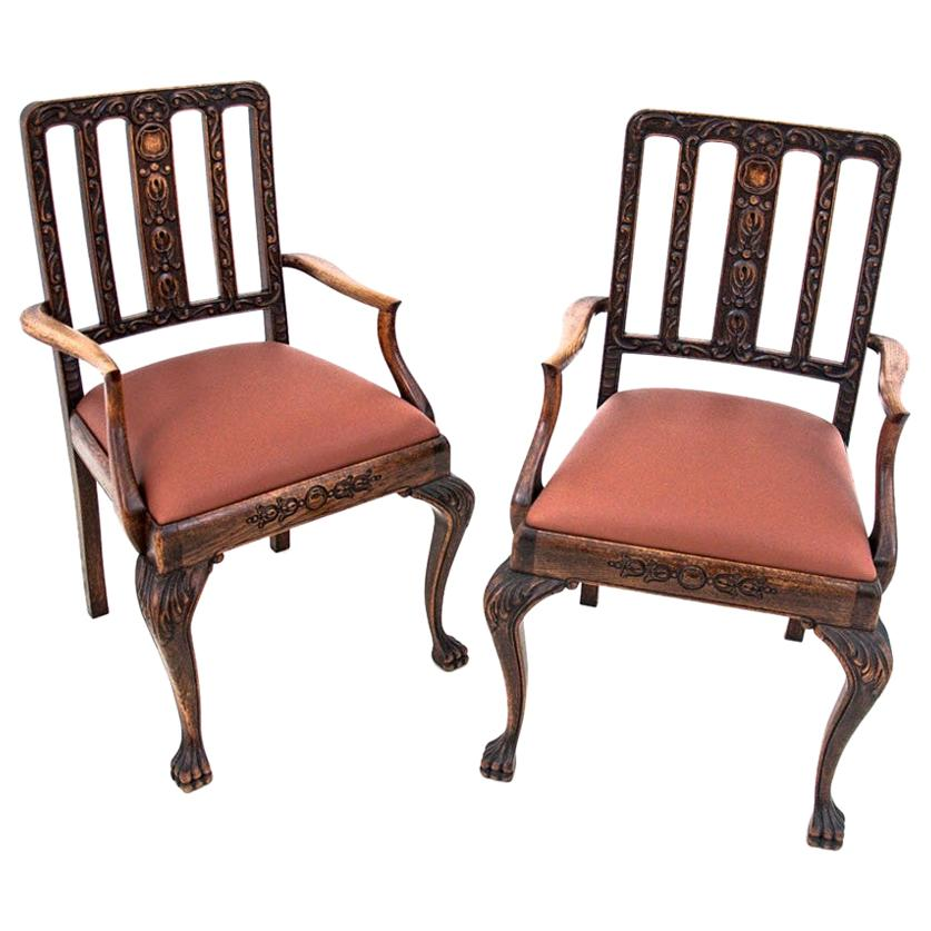 Two Chippendale Style Armchairs, circa 1900