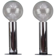 Two Chrome Table Lamps, Italy, circa 1970s