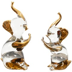 Two Chrystal Glass Murano Elephants, 1980s