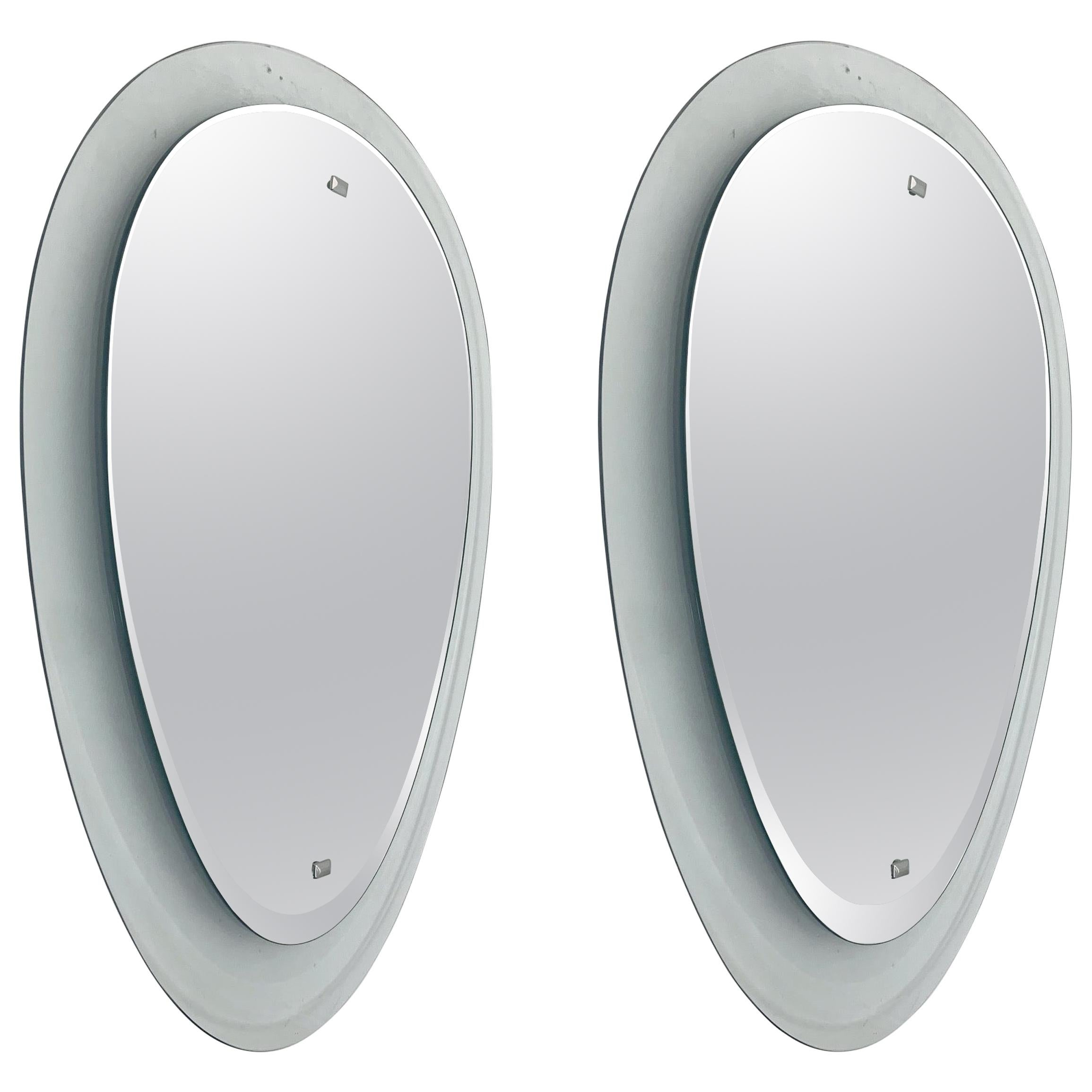 Two Clear Glass Mirrors by Cristal Art