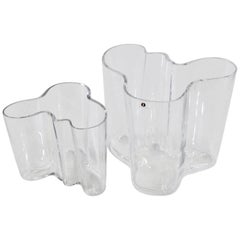 Two Clear Savoy Vases by Alvar Aalto for Iittala, Finland, 1970s