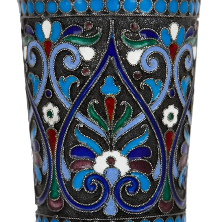 Cloissoné Two Cloisonné Enamel and Silver Russian Drinking Cups For Sale