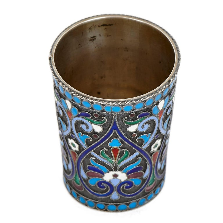 20th Century Two Cloisonné Enamel and Silver Russian Drinking Cups For Sale