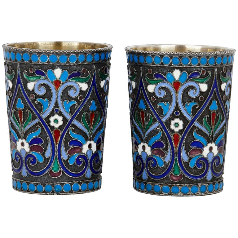 Two Cloisonné Enamel and Silver Russian Drinking Cups For Sale