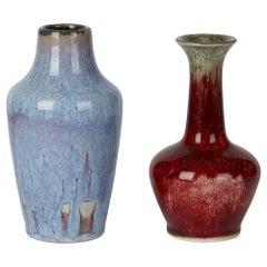 Two Cobridge Moorcroft Ruskin Drip Glazed Art Pottery Vases