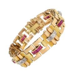 Two Color 18kt Gold Diamond & Ruby Retro Bracelet