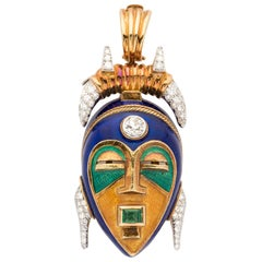 Two Color Gold Enamel/Diamonds and Emerald Mask Pendant Clip-Brooch