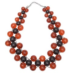 Two Colored 3 Row Resin Ball Necklace on Wire Vintage