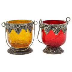 Two Colored Boho Glass Votive Candleholder Yellow and Red