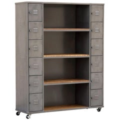 Two-Column Wood & Steel Locker and Shelf Unit, Custom Order