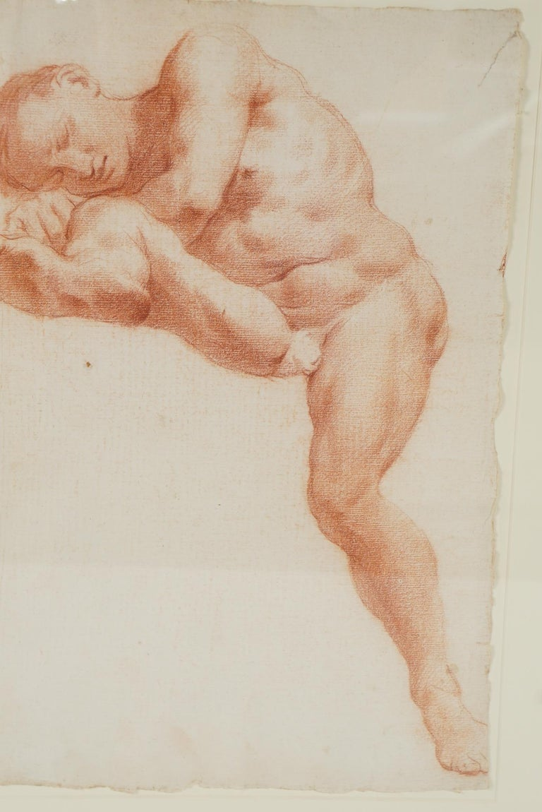These two drawings by the same hand are unsigned. Done in Sanguine on paper the nudes appear to both be different aspects of the same individual since both works have the same facial features and are on the same kind of paper. The feel and look of