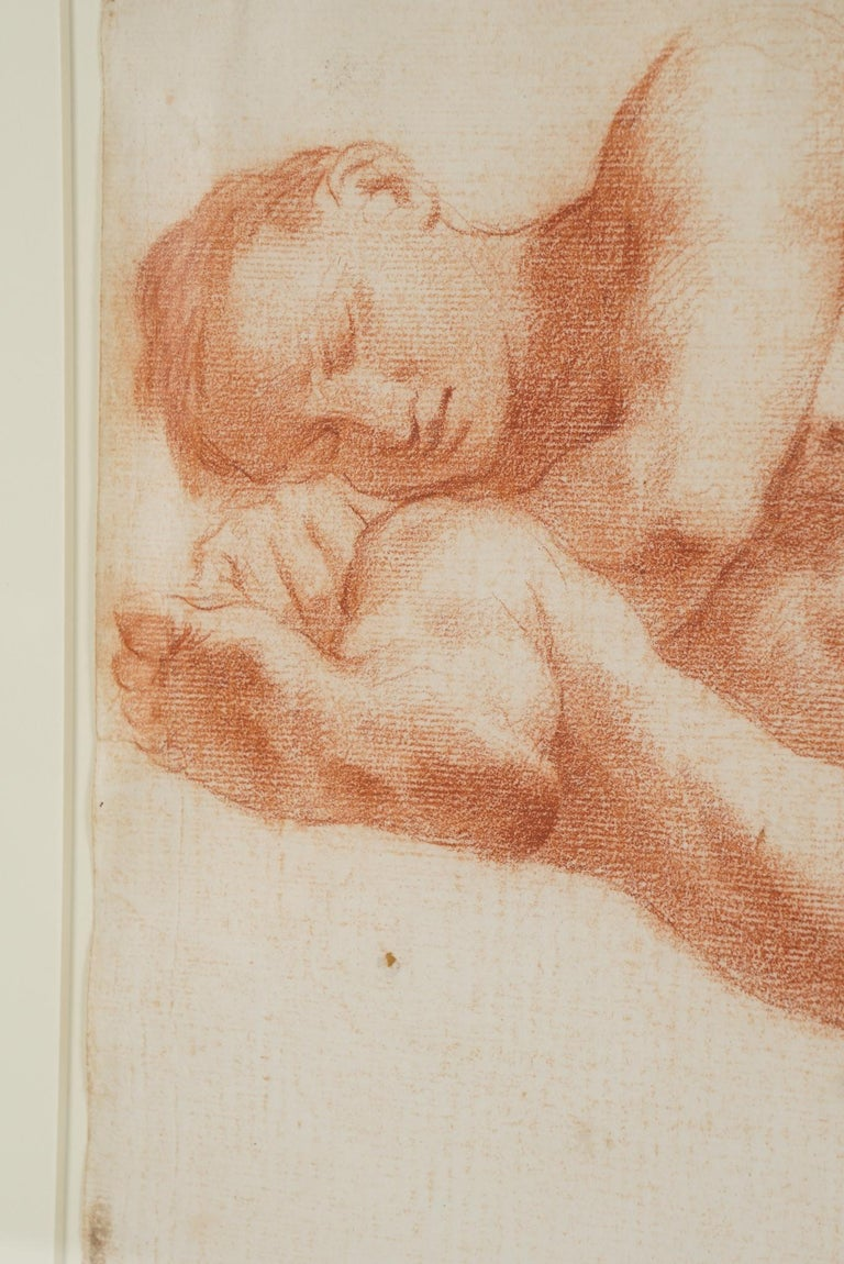 Two Companion French Sanguine Drawings, circa 1800 In Good Condition For Sale In Hudson, NY
