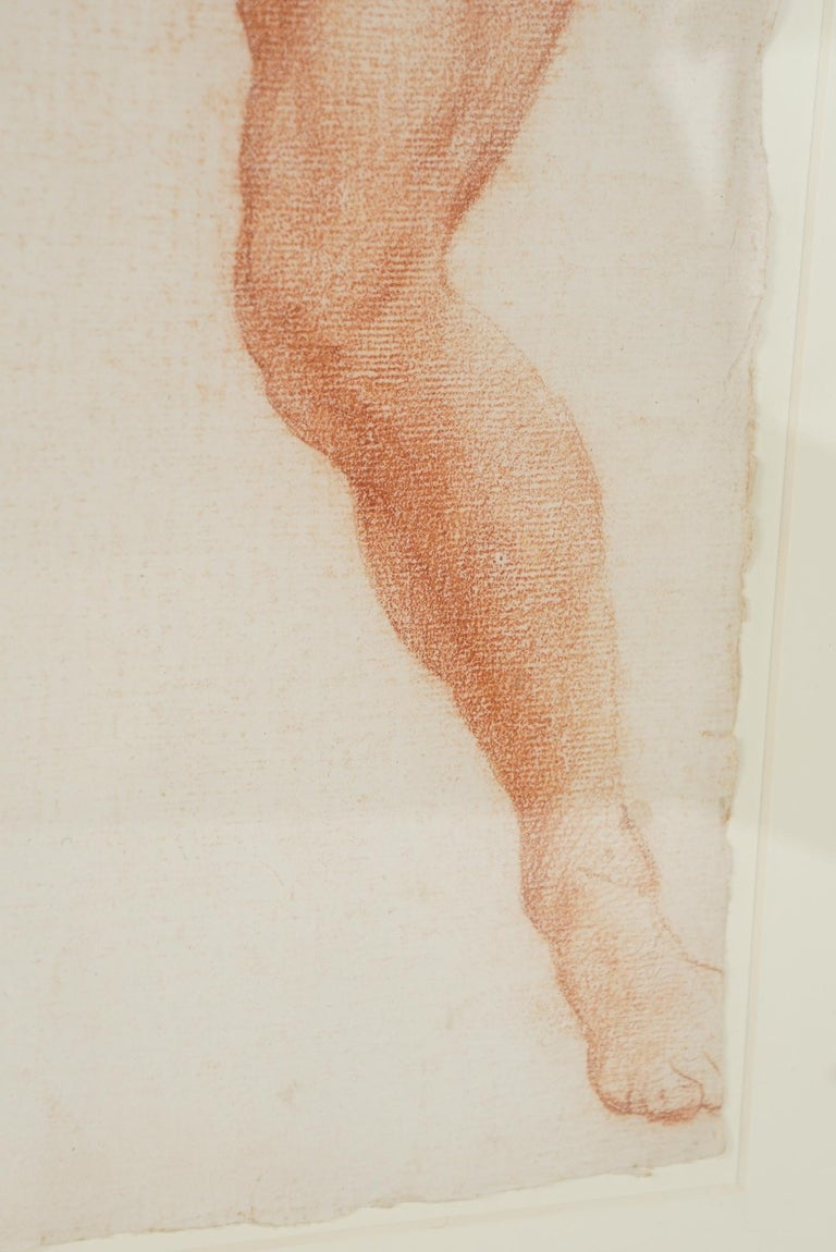 19th Century Two Companion French Sanguine Drawings, circa 1800 For Sale