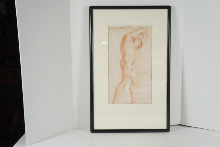 Two Companion French Sanguine Drawings, circa 1800 For Sale 1