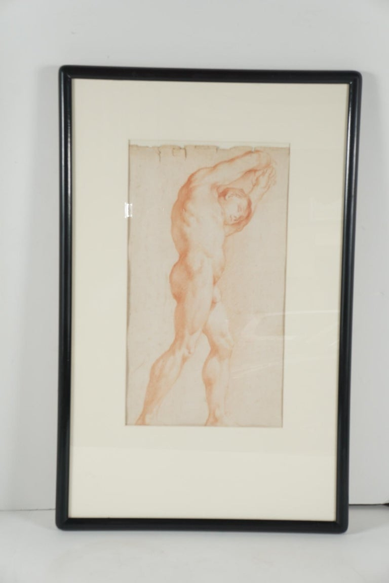 Two Companion French Sanguine Drawings, circa 1800 For Sale 2
