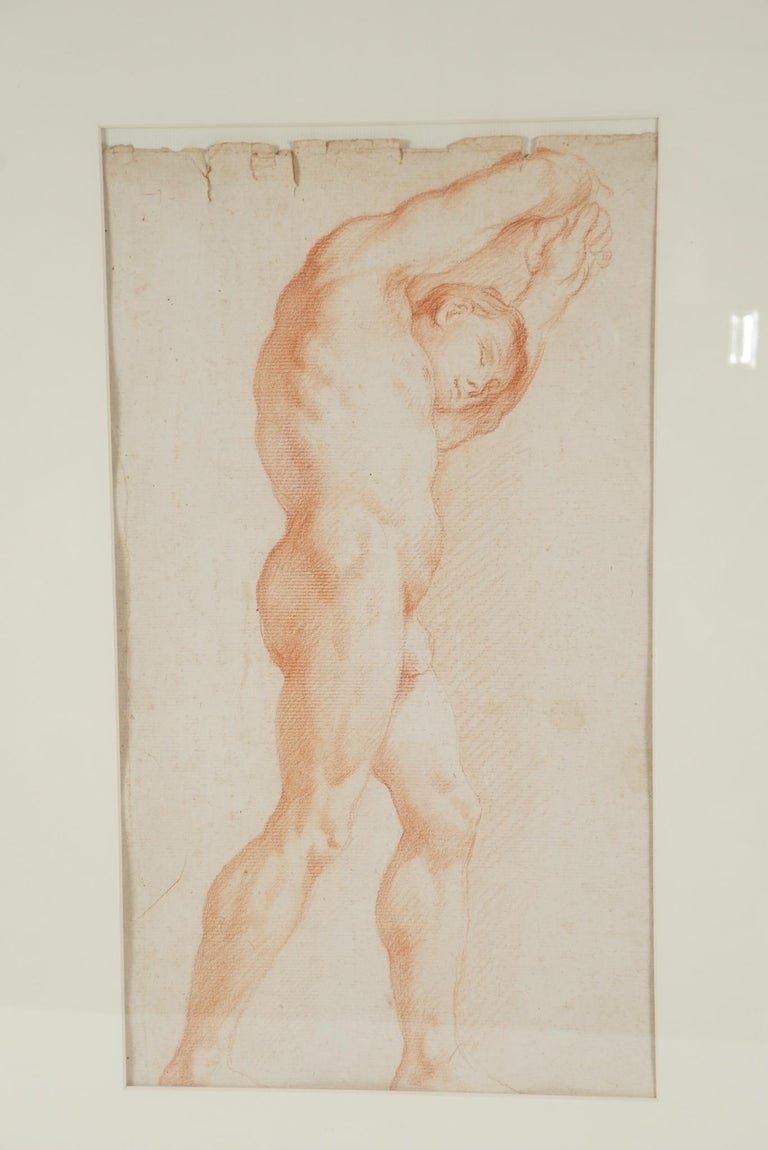 Two Companion French Sanguine Drawings, circa 1800 For Sale 3