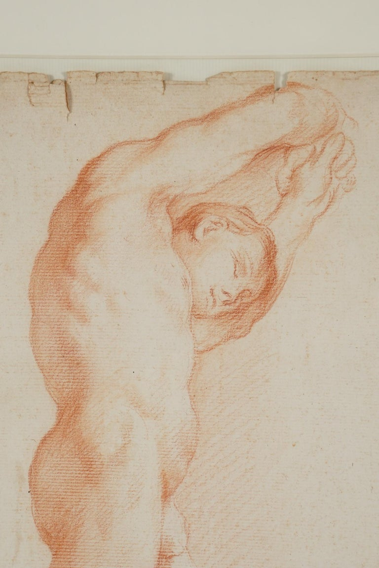 Two Companion French Sanguine Drawings, circa 1800 For Sale 4