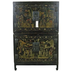 Two Compartments Cabinet Black Lacquer and Gilt Paint