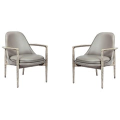 Two Contemporary Armchairs in Cerused Oak and Taupe Leather