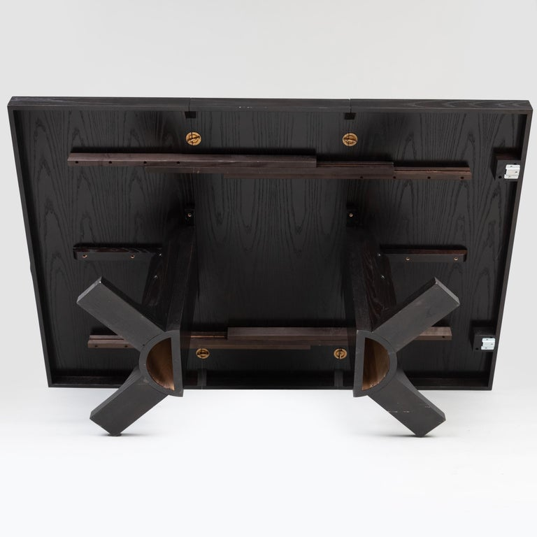Two Contemporary Ebonized Ash Dining Tables For Sale 2