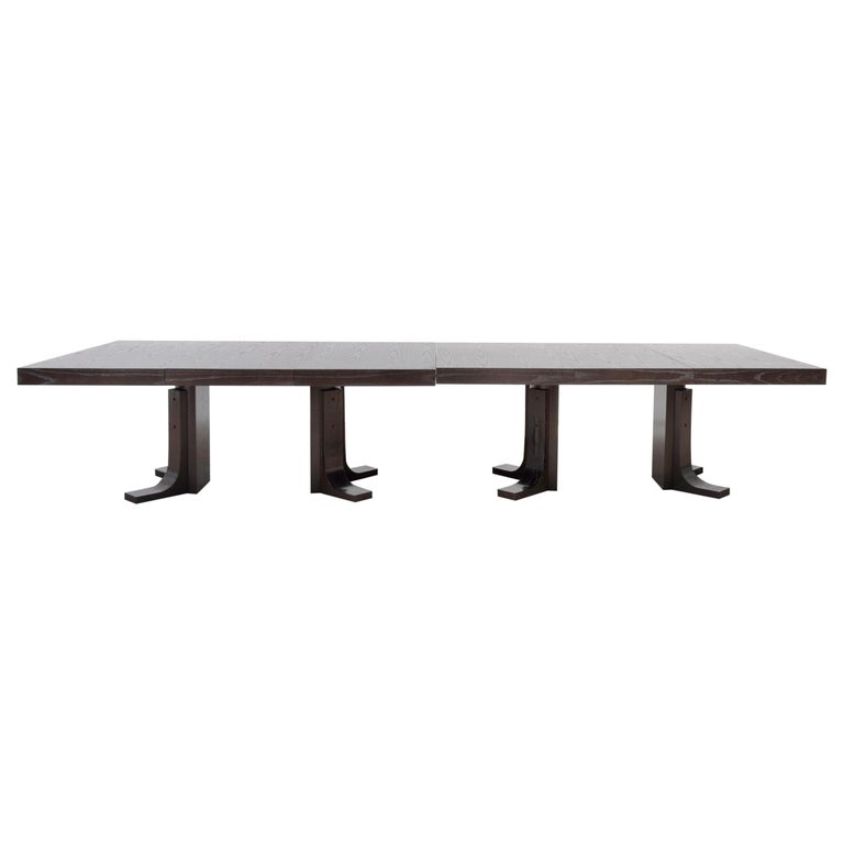 Two Contemporary Ebonized Ash Dining Tables For Sale