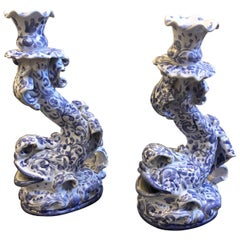 Two Contemporary Hand Painted Terracotta Unique Pieces Dolphin Candlesticks