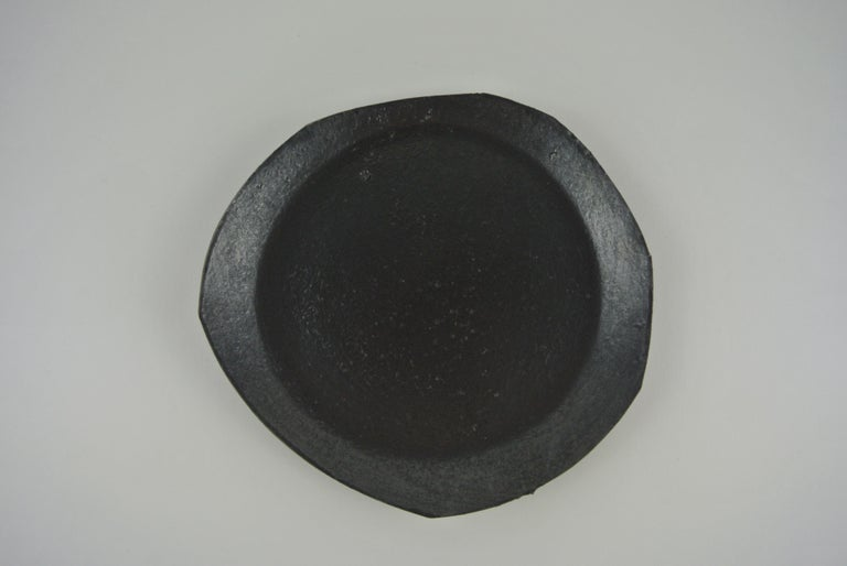 German Two Contemporary Stoneware Plates with Black Glaze For Sale