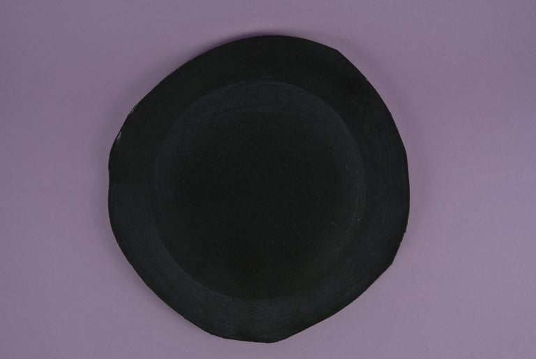Hand-Crafted Two Contemporary Stoneware Plates with Black Glaze For Sale