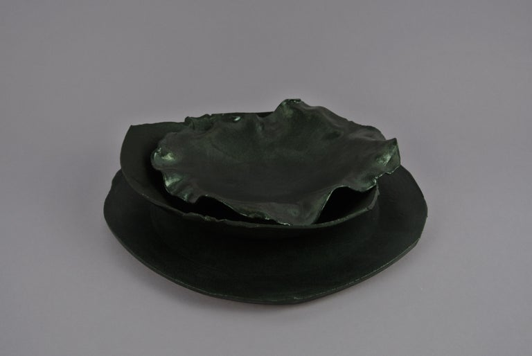 Two Contemporary Stoneware Plates with Black Glaze In New Condition For Sale In Berlin, DE
