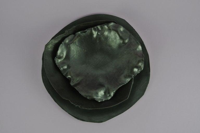 Ceramic Two Contemporary Stoneware Plates with Black Glaze For Sale