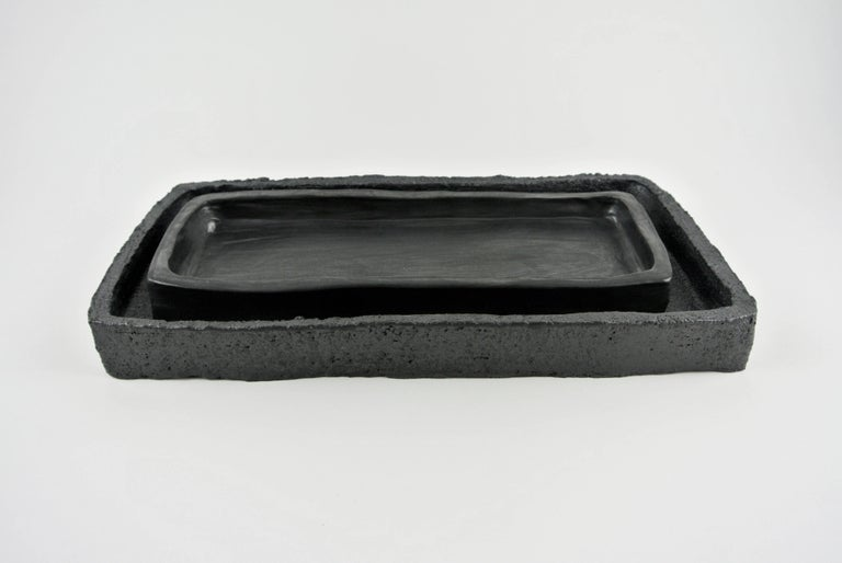 Organic Modern Two Contemporary Stoneware Trays with Black Silvery Glazes For Sale
