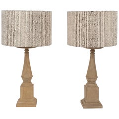 Two Custom Hand Carved Table Lamps
