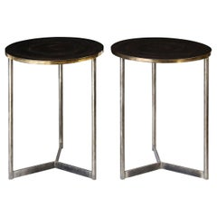Two Custom Steel and Brass Side Tables
